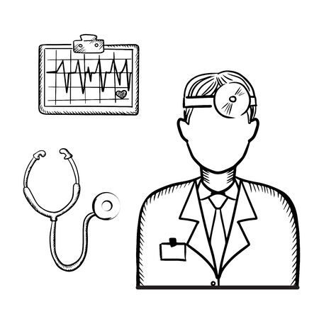 reflector: Doctor therapist in medical uniform with frontal reflector on head, stethoscope and heart cardiogram for healthcare design. Sketch style Illustration