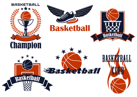 shield logo: Basketball championship icons with winged shoes, balls, basket, backboard, trophy cup and flame. Framed by heraldic shield, laurel wreath, ribbon banners and stars Illustration