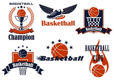 escudo: Iconos del campeonato de baloncesto con alas zapatos, pelotas, cesta, tablero, Trofeo de la Copa y de la llama. Enmarcado por escudo heráldico, corona de laurel, banderas de la cinta y las estrellas