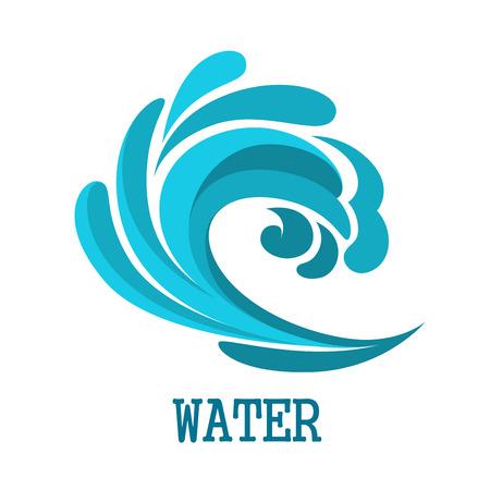 frescura: Símbolo azul ola del mar rizado con líneas fluidas azul con formas aisladas sobre fondo blanco