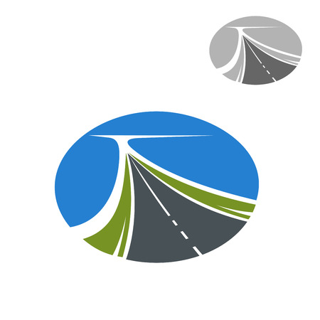 bitumen: Long highway and blue sky icon for travel or transportation industry themes design