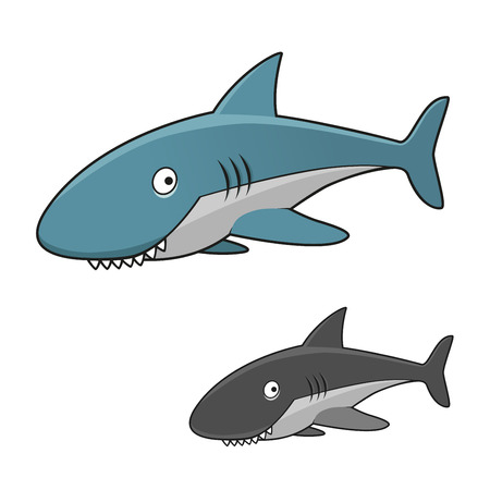 gills: Funny cartoon toothy gray shark character with blue back and fins and open gills, for marine theme design