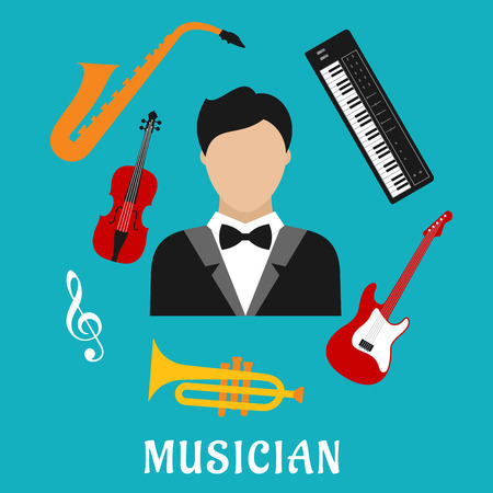 synthesizer: Musician profession concept with flat icons of man in tailcoat, surrounded by electric guitar, trumpet, violin, saxophone, treble clef and synthesizer musical instruments