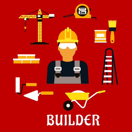 stepladder: Builder profession concept with man in protective glasses and yellow hard hat with stepladder, paintbrush and paint can, ruler, brick wall, trowel and paint roller, tower crane and wheelbarrow. Flat style icons