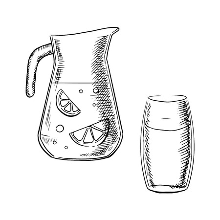 water jug: Jug and glass filled with fresh lemonade with slices of lemon fruit and bubbles isolated on white background, outline sketch style Illustration