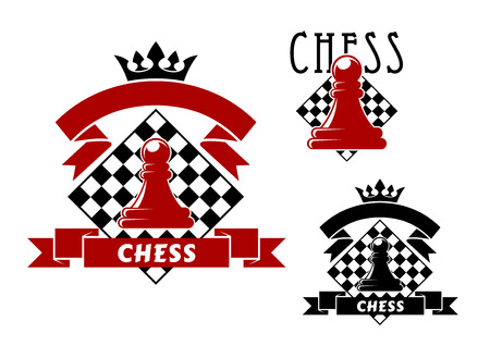 turned: Chess sporting game icons with red and black pawns, turned by chessboards on background. Decorated by ribbon banners with crowns Illustration