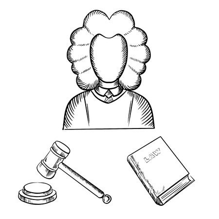 arbitrate: Judge in traditional mantle and wig, gavel and law book icons in outline sketch style