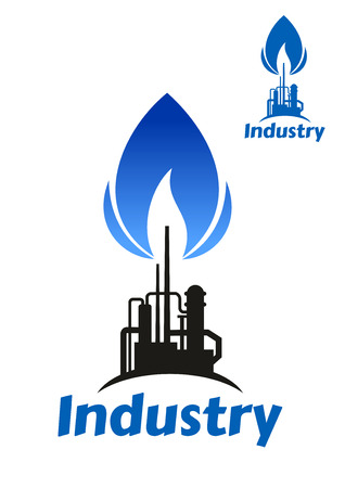 blue flame: Oil and gas processing factory icon with black silhouette of pipeline and chimney with blue flame of associated gas and caption Industry below