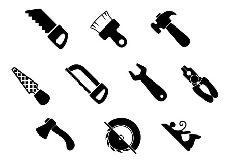 rasp: Hand tools icons with claw hammer, wrench, pliers, axe, paintbrush, hand saw, flat rasp, hacksaw and jack plane