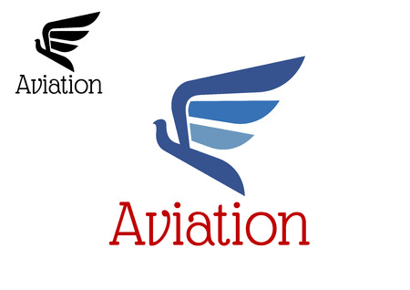 aircraft: Aviation  abstract icon or emblem with blue eagle silhouette in flight isolated on white background. For transportation or aircraft design