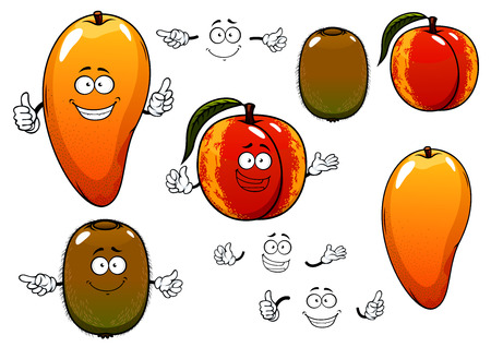 Cartoon sweet fragrant reddish orange mango, peach and green kiwi fruits characters with happy smiling faces for fresh vegetarian food or agriculture design 일러스트