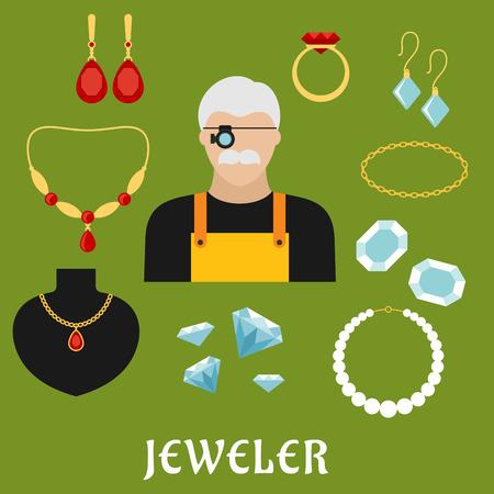 profesiones: Joyero concepto de profesión con el hombre bigotudo en lupas, rodeado de anillos de oro elegante, aretes, cadenas, colgantes, pulseras y collares con diamantes, rubíes y perlas. Estilo Flat