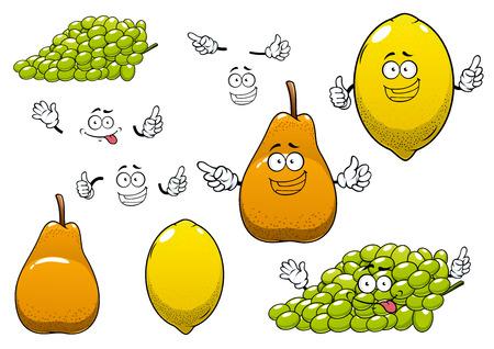 limon caricatura: Limón saludable fresca amarillo, uva verde y frutas de color naranja pera maduras personajes de dibujos animados con las caras divertidas para la nutrición saludable o la agricultura tema de diseño Vectores