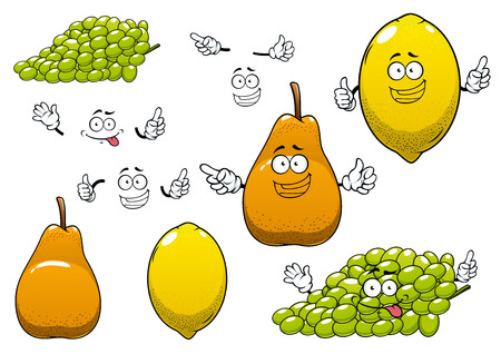 Healthful fresh yellow lemon, green grape and ripe orange pear fruits cartoon characters with funny faces for healthy nutrition or agriculture theme design
