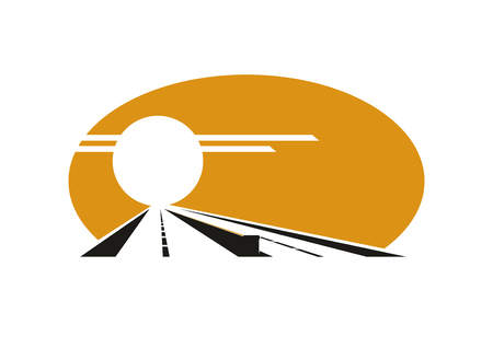evening sky: Icon of highway at sunset with golden evening sky, sun over road and median barrier for transportation or travel design