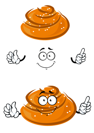 sesame seeds: Cartoon sweet twisted bun character with sesame seeds and smile for bakery or pastry shop theme