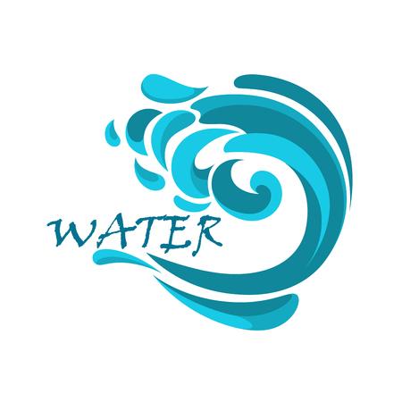 olas de mar: Onda azul del océano tormentoso con remolinos de agua y gotas rizado en la cresta aislado en fondo blanco Vectores