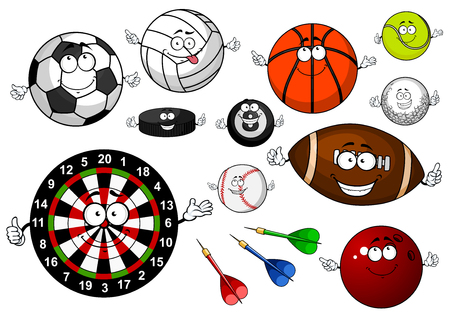 red ball: Colorful cartoon dartboard with arrows, football, soccer, volleyball, basketball, baseball, golf, rugby, tennis, billiards, bowling balls and ice hockey puck for sporting theme design Illustration
