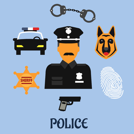 peaked: Police profession flat icons with officer in black uniform and peaked hat with handcuffs, gun, police car, sheriff star badge, fingerprint and police dog