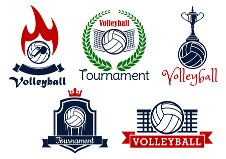 courts: Volleyball sport game heraldic icons and symbol with balls, net, trophy cup, whistle and flame, framed by laurel wreath, crown, shield and ribbon banners
