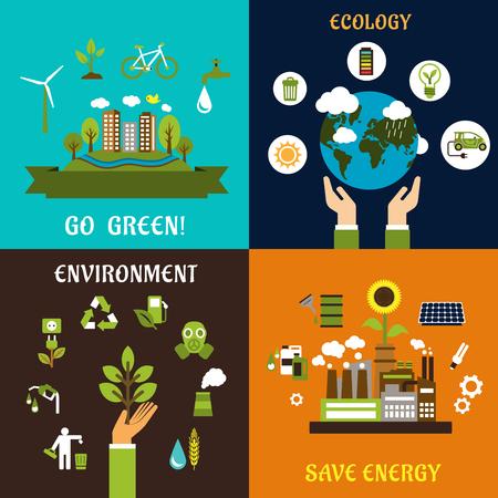 Milieu, ecologie, natuurbescherming en energie besparen vlakke pictogrammen
