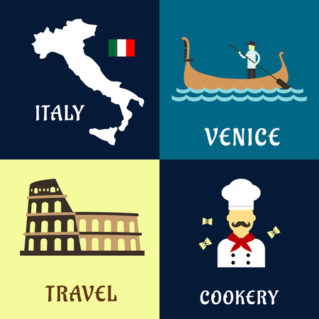 amphitheater: Traditional travel symbols of Italy with with map and flag, Colosseum amphitheater, venetian gondolier in gondola boat and italian cuisine chef with pasta. Flat style