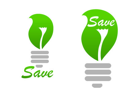 save environment: Green light bulb with curved leaf in gray screw threaded base with caption Save for environment, energy saving or ecology concept theme