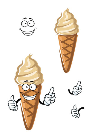 flavour: Smiling ice cream cone cartoon character with caramel flavor and sugar waffle for dessert menu design Illustration