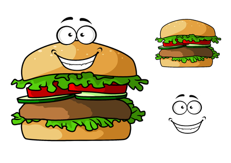 patty: Fast food hamburger cartoon character with grilled patty, fresh tomato and cucumber slices, lettuce leaves for takeaway or cafe menu design
