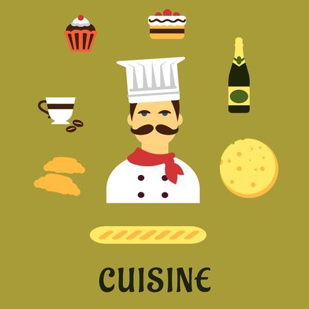 french cuisine: French cuisine flat icons with chef in white toque and red neckerchief surrounded by fresh croissants, baguette, cheese, wine bottle, cake, coffee cup and cupcake