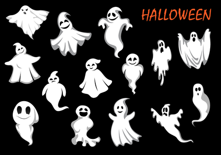 ghouls: Errie and funny flying ghosts or ghouls for Halloween part or holiday design
