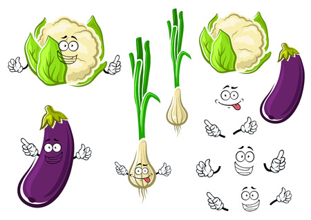 green and purple vegetables: Fresh cauliflower, green onion and purple eggplant vegetables cartoon characters with sappy bright leaves for cook, vegetarian food or agriculture design