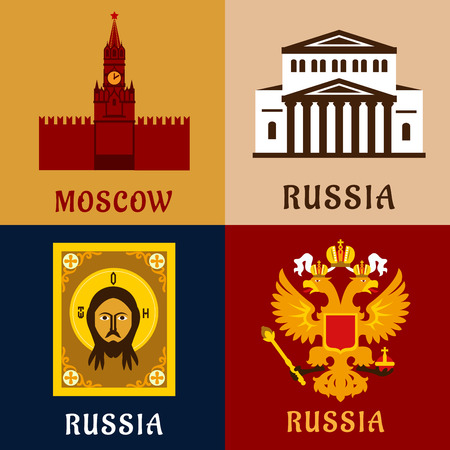 kremlin: Cultural, historic and religion flat symbols of Russia with Moscow Kremlin tower, double-headed imperial eagle, orthodox icon of Jesus Christ and Grand Theater Illustration