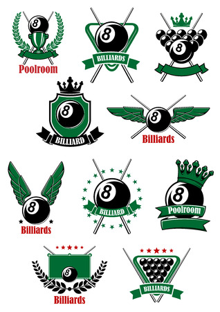 billiards tables: Billiards game icons with sport items