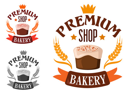 icing: Premium bakery shop symbol or emblem of cake with royal icing and sprinkles encircled by headers with stars, crown, wheat ears and ribbon banner
