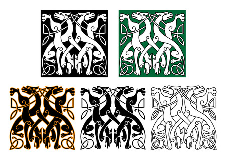 Vintage animal pattern with decorative wolves intertwining tails and legs, adorned by celtic knot ornamental elements for tattoo or medieval art design Illustration