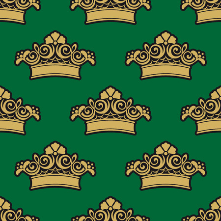 curlicues: Seamless pattern with golden ornamental crowns, flowers and foliage curlicues on dark green background for luxury wallpaper or textile design Illustration