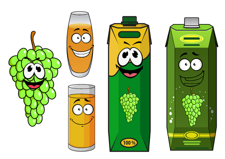 grape fruit: Cartoon sweet grape juice packs characters with funny bunch of green grape fruit and glasses with yellow drinks, isolated on white background for food pack theme