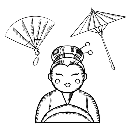 japanese fan: Geisha woman in kimono with traditional makeup and a hairstyle with hair pins, with vintage japanese fan and paper umbrella, sketch icons