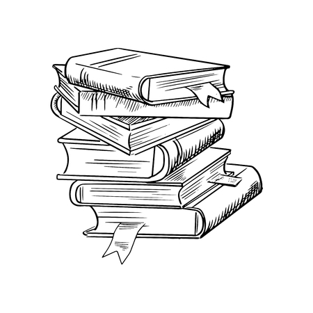 Stack of books with bookmarks isolated on white background, for education or knowledge design, sketch style