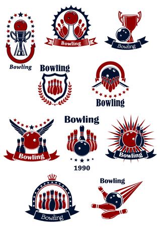 team sports: Bowling juego iconos retro con pelotas, bolos, carriles y huelga, decoradas por las estrellas, coronas, alas, rayas, guirnalda, escudo y banderas de la cinta Vectores