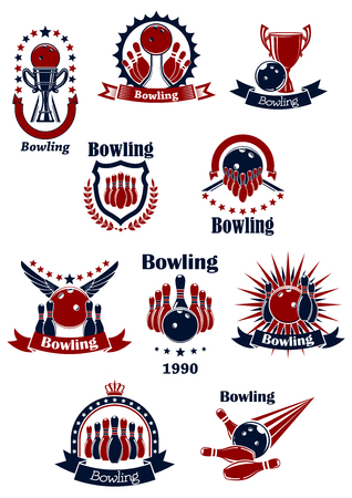 vintage: Bowling spel retro iconen met ballen, kegels, lanen en de staking, versierd met sterren, kronen, vleugels, stralen, kroon, schild en lint banners