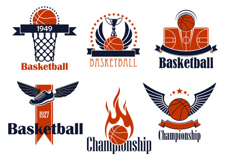 flame wings: Basketball sport icons with balls and wings, stars and flame, trophy cup, winged shoes, court and basket, supplemented by ribbon banners Illustration