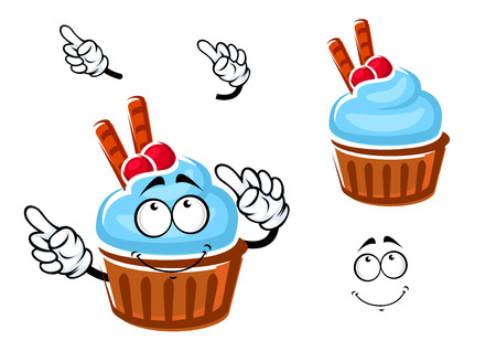 chocolate mint: Cartoon chocolate cupcake character with blue mint cream, cranberry fruits and waffle tubes for pastry shop or dessert design Illustration