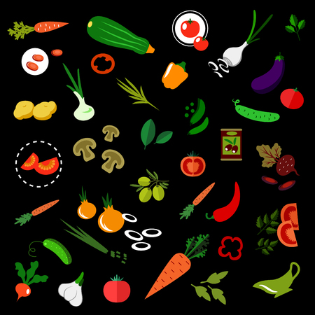 pickled: Flat icons of fresh vegetables with tomatoes, carrots, cucumbers, onions, potatoes, chili and bell peppers, green peas, fresh and pickled olives, zucchini, radish, garlic, beet, spicy herbs and sauce boat