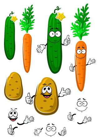 crispy: Cartoon sweet orange carrot, crispy green cucumber with flower and fresh brown potato vegetable characters for healthy vegetarian food or agriculture themes design