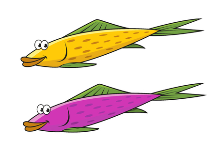 Funny cartoon yellow and violet fish characters with green fins and tails isolated on white background