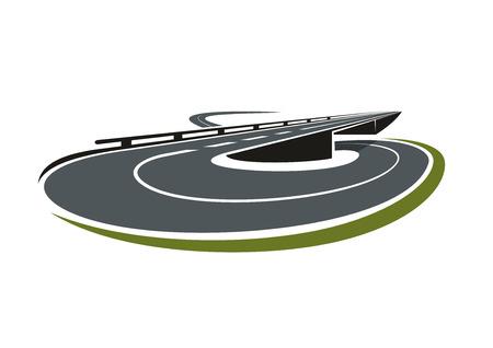 Strada rotonda scambiare icona astratto con la strada principale che porta sotto la strada cavalcavia. Per il tema di trasporto Archivio Fotografico - 44975826