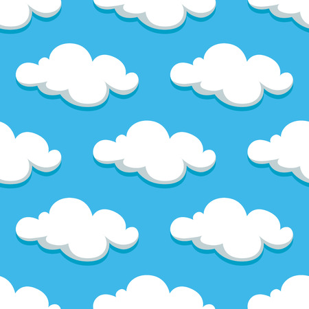 ร   ร   ร   ร  ร ยข  white clouds: Cartoon white clouds and sky seamless pattern on background. For wallpaper or textile design