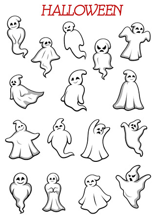 Eerie flying Halloween ghosts and monsters isolated on white background for party and holiday theme design